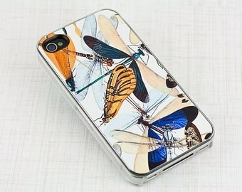 Dragonfly iPhone Case, Vintage Scientific Design, Retro Insect iPhone Cover, Mobile Device Cover, Plastic iPhone 4 5 6 case