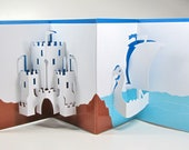 Medieval Castle and Dragon Head Viking Ship Nautical Pop-Up 3D Card Home Décor Origamic Architecture Handmade in White Blue and Brown OOAK