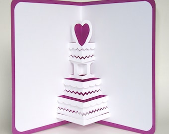 Wedding Cake 3D  Pop Up Greeting Card Anniversary Cake, Birthday Cake,  Home Décor  Handmade Origamic Architecture in White and Purple