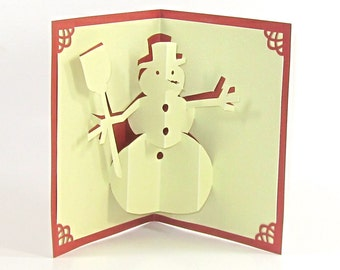 SNOWMAN 3D Pop Up CHRISTMAS Greeting Card Home Décor Handmade Handcut Origamic Architecture in Shimmery Sparkling Sand Beige and Copper OOAK