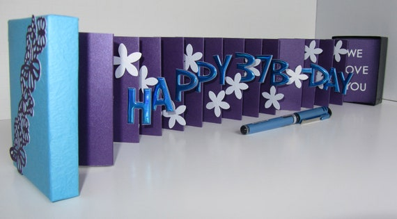HAPPY 37th Birthday Wishes Pop Up Accordion Book Card in A Box, Handmade in Purple & Turquoise Personalized CUSTOM ORDER One Of A Kind