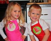 Set of 7 Personalized Kids Christmas Aprons