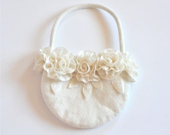 White felted clutch, handbag, purses with white roses. Felted from softest merino wool.