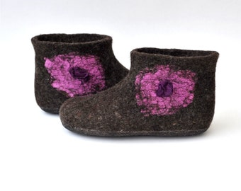 Felted slippers from natural wool, brown, chocolate brown, natural color, pink