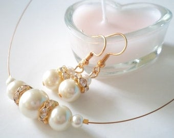 Bridesmaid Gift, Ivory and White Glass Pearl Necklace and Earrings Set