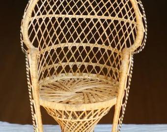 SALE Vintage Miniature Peacock Chair. Planter. Wicker Fan Chair Small Scale. Woven Rattan. Robert Woodard Inspired
