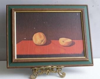 SALE Minimalist Frames Peeled Orange and Peach Print. Mid century Still Life