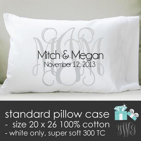 Monogram Bridal Pillow Standard Pillow Size Case By Youreworthit