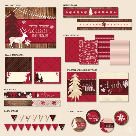 """Instant Download - Printable Party Collection - HOLIDAY LODGE PARTY - """"Hostess Holiday Essentials"""""""
