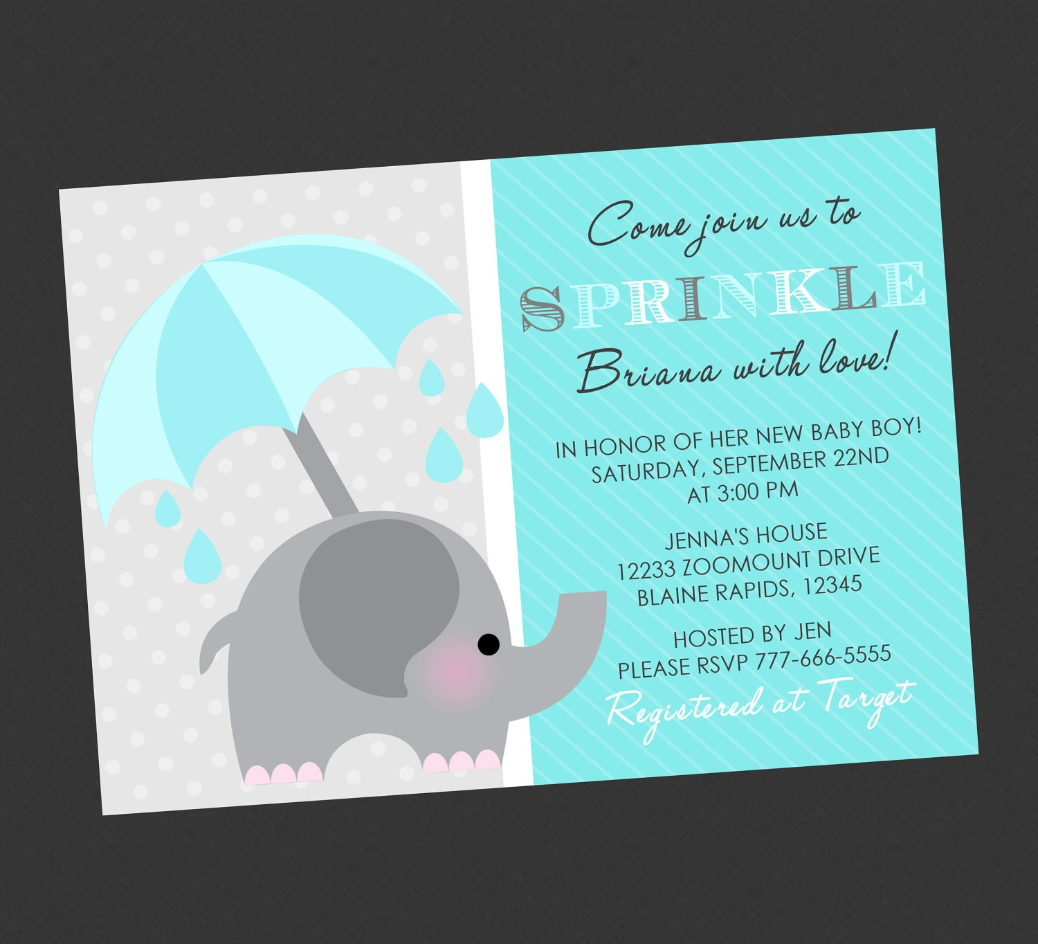 Baby Shower Invitation Elephant Templates Elephant sprinkle baby ...