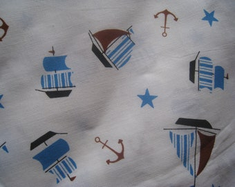 Vintage Childrens Nautical  Cotton  Fabric - Boats, Ships and Anchors, Vintage Fabric, Vintage Textiles, Vintage Sewing Supplies