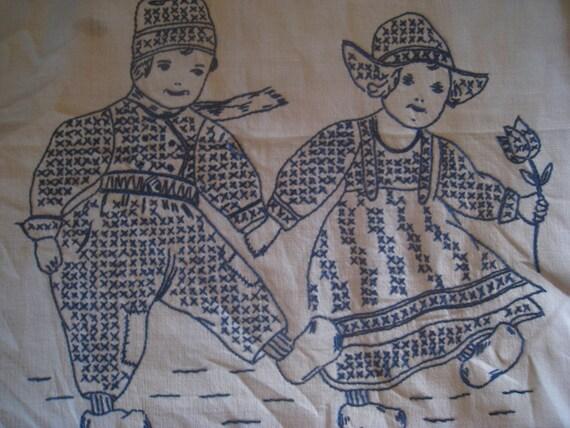 Vintage Cotton Blue Embroidered Cross Stitched Picture - Dutch Children, Vintage Embroidery, Vintage Holland, Vintage Wooden Shoes