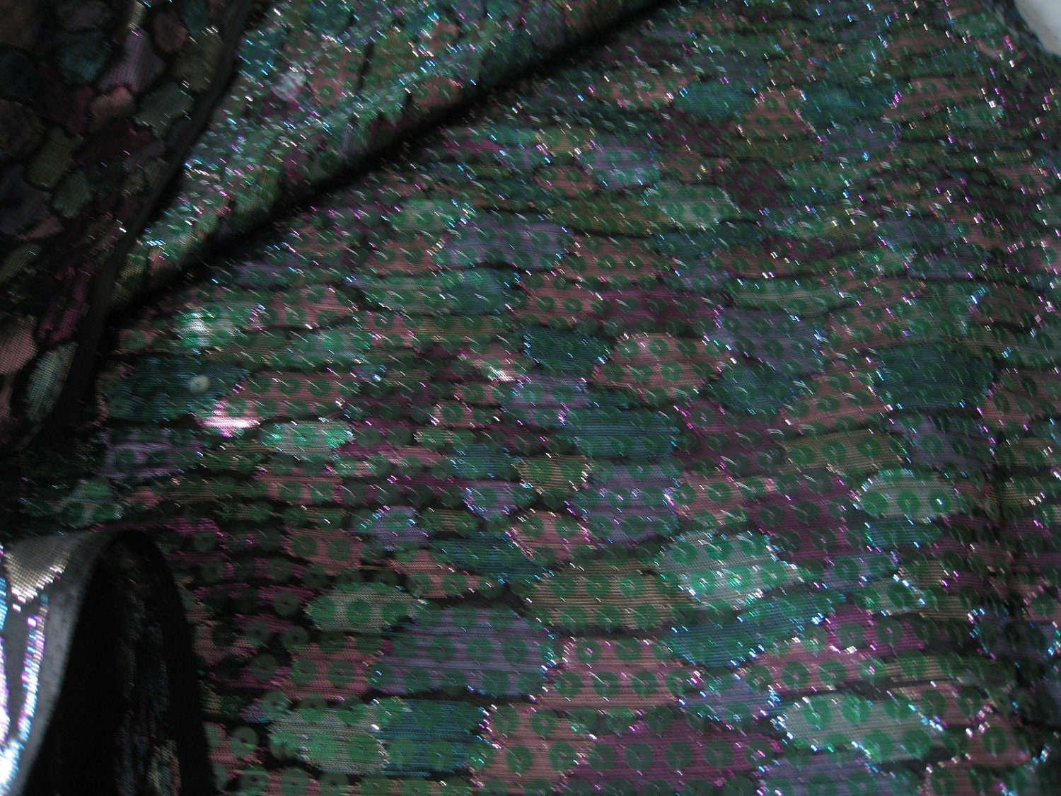 Bla Koket : Black Iridescent Fabric iridescent metallic black purples greens