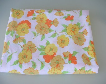 Vintage Flat Double Full  Sheet Yellow Orange Pansy Flat Bed Linens Pennys Floral Bed Sheet  from The Back Part of the Basement