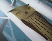 Owls in forest, bird print, owl print, kid nursery wall decor, children room