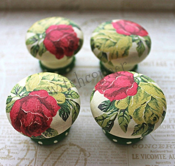 Door Knob, Wooden Drawer Knob, Royal Roses Design 45 mm, Cupboard Knob, Shabby Chic Floral Knob, Drawer Pull
