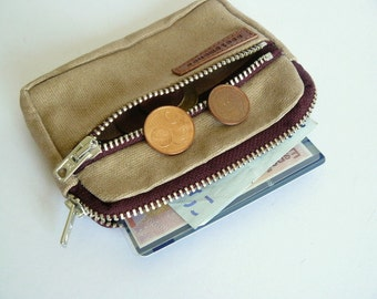 Handmade men retro beige waxed canvas two zipper coin purse/ wallet-Personal accessories-gift for him- gift for husband