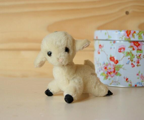 Little lamb soft toy, vintage nursery decor.