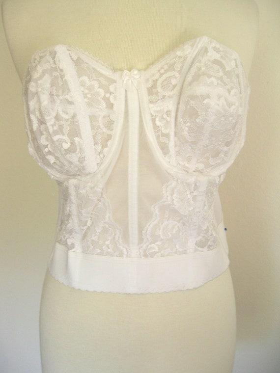 Vintage White Lace Sheer Longwire Bra Size 42B