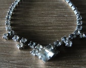 Vintage 1950s Single Strand Simple Clear Rhinestone Necklace