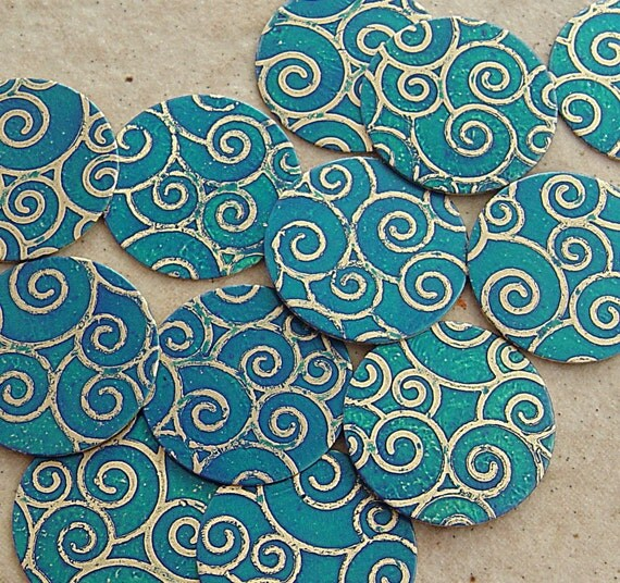 Etched Brass Disks, Capri Blue Rounds, Spiral Pattern  22mm x 30mm, 1 Pair