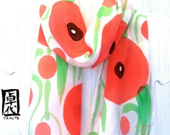 Silk Scarf Red Handpainted, Gift for her, Birthday Gift, Hand painted Silk Scarf, Sweet Red Poppies Scarf, 8x54 inches, Made to order