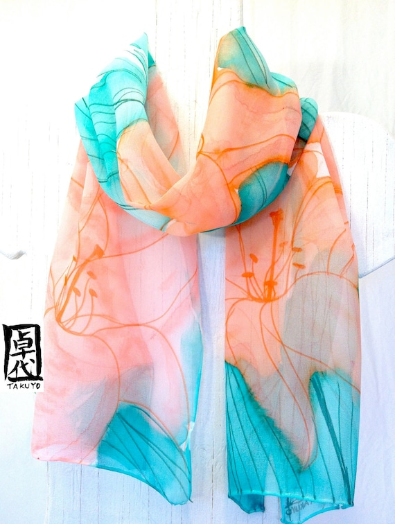 Silk Scarf Handpainted, Gift for her, Mint Green Scarf, Orange Spring Lilies Scarf, Silk Chiffon Scarf, Takuyo, 11x60 inches, Made to order