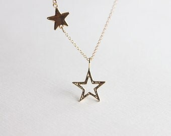 Super Star Necklace - double gold super stars on 14k gold filled chain, friendship necklace, mother and daughter necklace