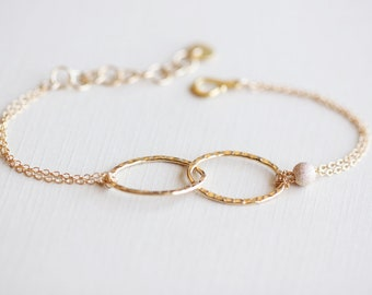 Linked Gold Bracelet - 14k gold filled entwined ovals and beads