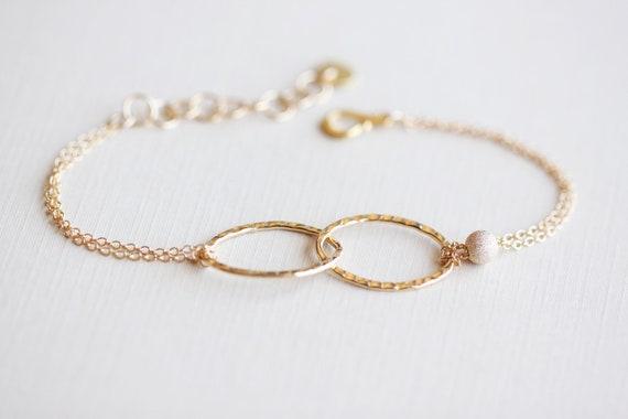 Linked Gold Bracelet - 14k gold filled entwined ovals and beads