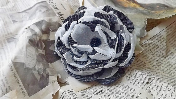 Fabric flower pin, Fabric Flower brooch, denim, fabric flower, Ready to ship, shipping included, Free shipping
