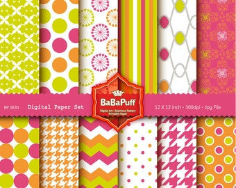 Instant Downloads, 12 Digital Papers. Clip Art For Handmade Crafts Projects. Personal and Small Commercial Use. BP 0630