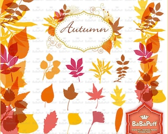 Instant Downloads, Digital Fall Leaves Set 2. Personal and Small Commercial Use. BP 0688