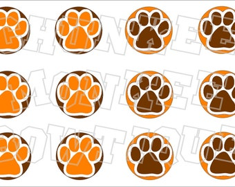 Brown orange and white pawprint bottlecap image sheet pawprint