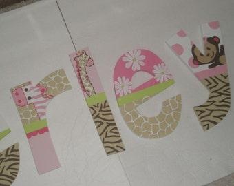 Jungle Jill - nursery letters - custom - hand painted - monkey, giraffe, elephant, zebra