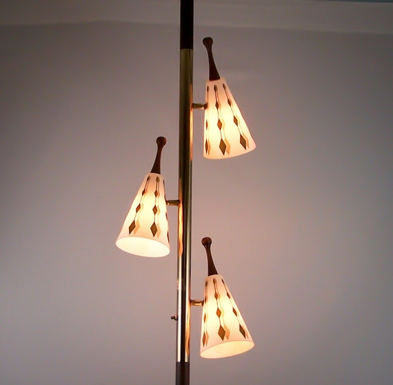 Vintage Tension Pole Lamp Eames Era Gold Cone Globes Floor to Ceiling Light