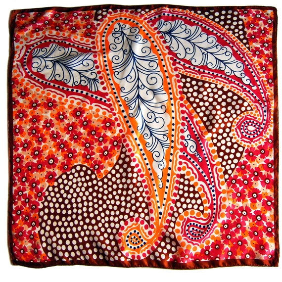 Large 1960s Psychedelic Folk Paisley Scarf
