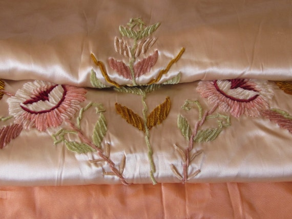 Vintage Bedspread, Silk Charmeuse and Acetate, Embroidered