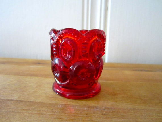 A Vintage Red Moon and Stars Salt Cellar or Toothpick Holder