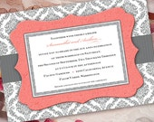 wedding invitations printed, wedding invitation wording, wedding invitations romantic, coral and gray damask wedding invitation, IN206