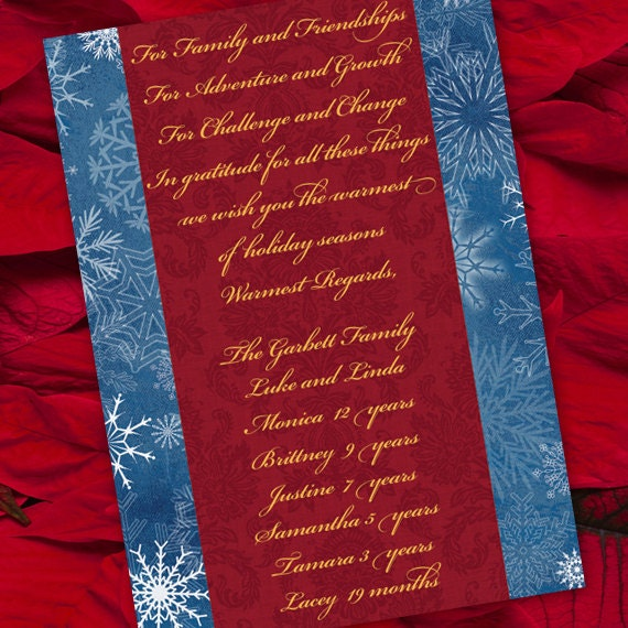 Christmas cards, red and blue Christmas card, blue Christmas, snowflakes holiday card, red and gold Christmas card, CC008C
