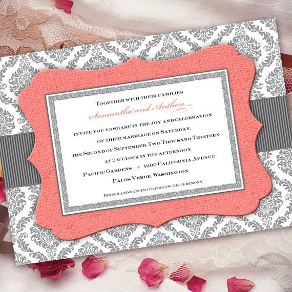 wedding invitations printed, wedding invitation wording, wedding invitations romantic, coral and gray damask wedding invitation, IN206