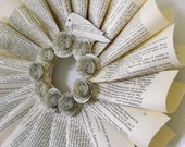 Paper wreath for home or wedding decor, recycled sheet music, vintage book pages