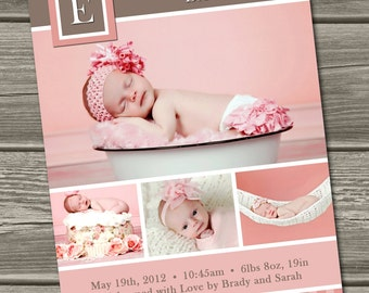 Baby Girl Birth Announcement (Digital File) Emma - I Design, You Print