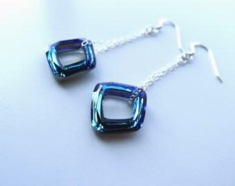 Bermuda Blue Crystal Cosmic Square Ring Fancy Stone Swarovski Elements Earrings in Sterling Silver, Bridal Bridesmaid Wedding Custom Jewelry