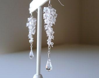 Sterling Silver Cascade Swarovski Elements Earrings, Crystal Clear Cascading Bridal Earrings, Bridesmaids Weddings Custom Jewelry