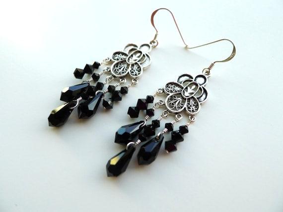 Black Antique Silver Filigree Flower Chandelier Earrings, Jet Swarovski Elements Crystal Teardrops Bridal Bridesmaid Custom Jewelry