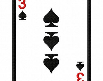 Playing Cards - Spades - Applique with Numbers 0-9 - Machine Embroidery Design - 4 Sizes