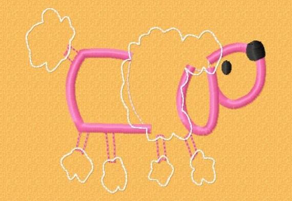 Poodle - Applique - Machine Embroidery - 9 different sizes