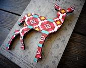 """Wooden Deer Brooch """"Tribal"""" - Tribal Geometric Deer Design"""